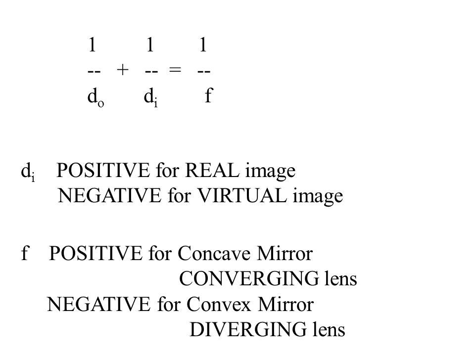 1 1 1 -- + -- = -- do di f. di POSITIVE for REAL image.