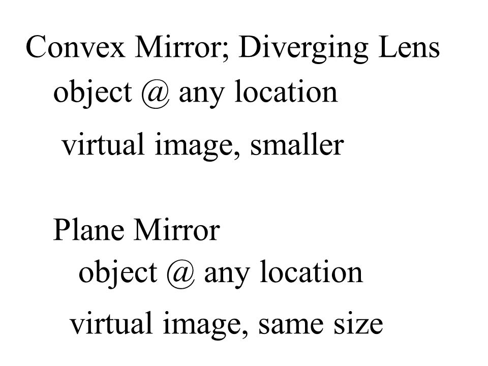 Convex Mirror; Diverging Lens