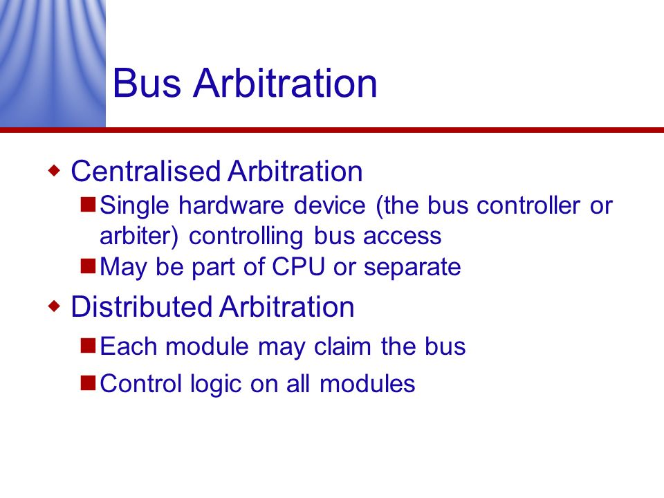 Bus Arbitration Centralised Arbitration Distributed Arbitration