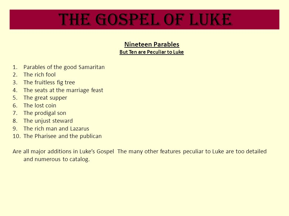 But Ten are Peculiar to Luke