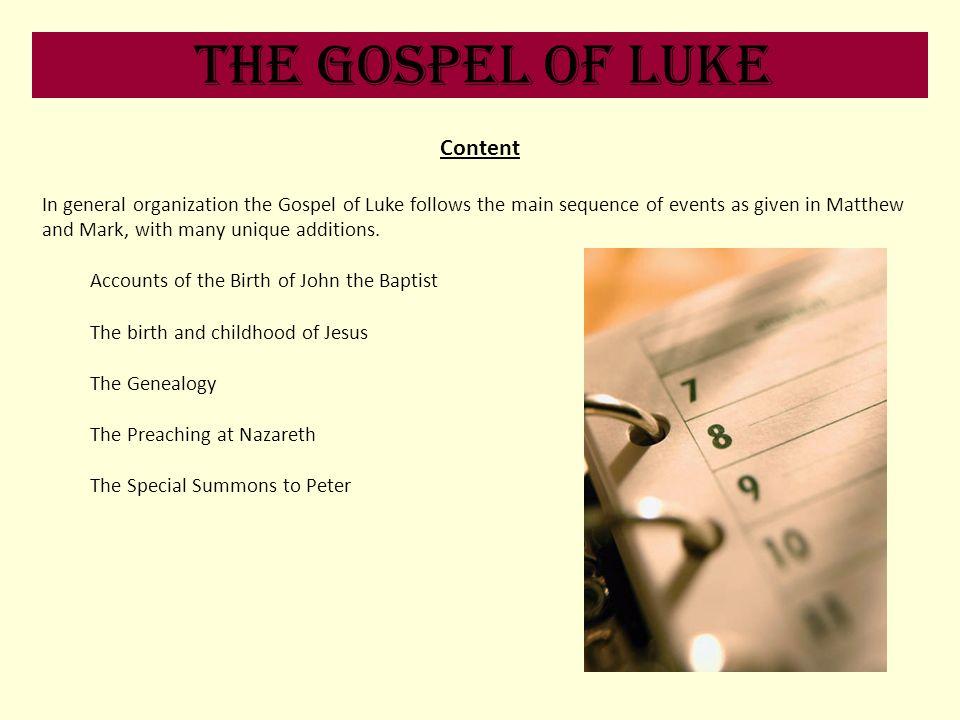 The Gospel of Luke Content
