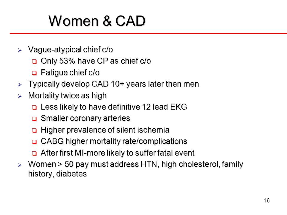 Women & CAD Vague-atypical chief c/o Only 53% have CP as chief c/o