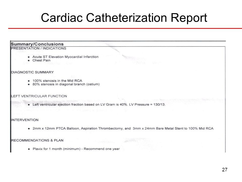 Cardiac Catheterization Report