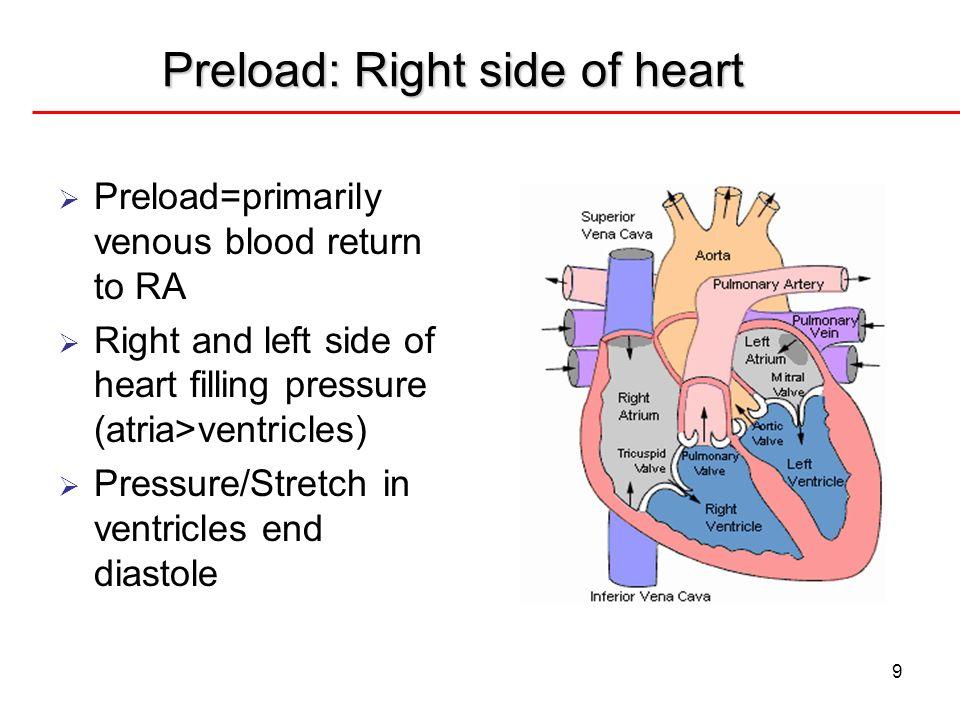 Preload: Right side of heart