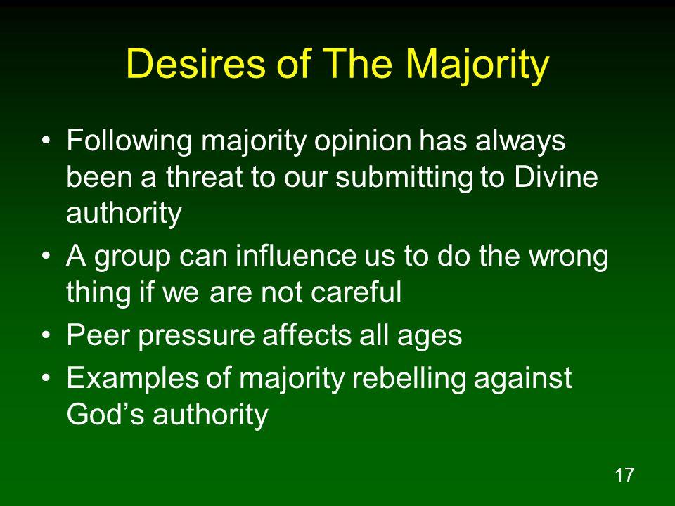 Desires of The Majority