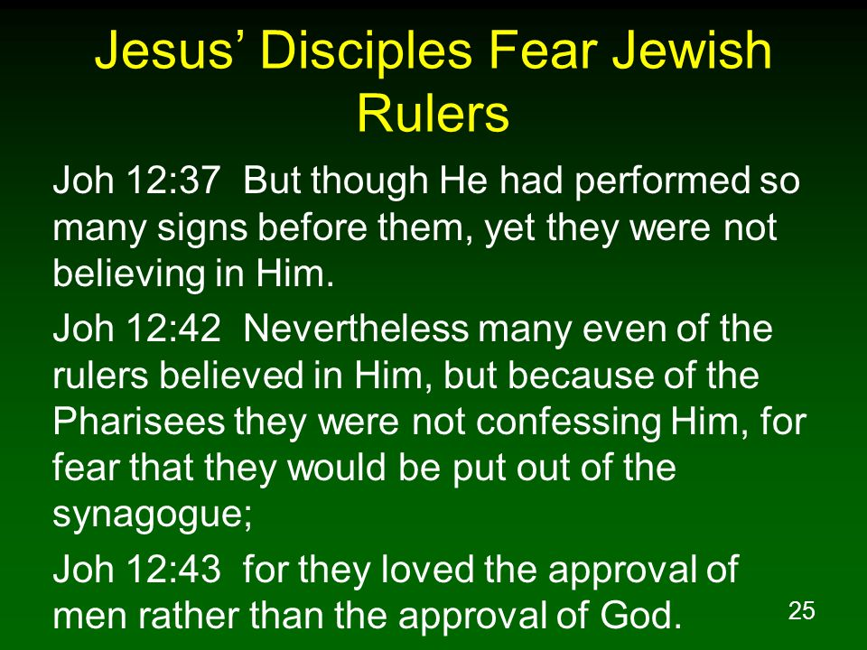 Jesus' Disciples Fear Jewish Rulers