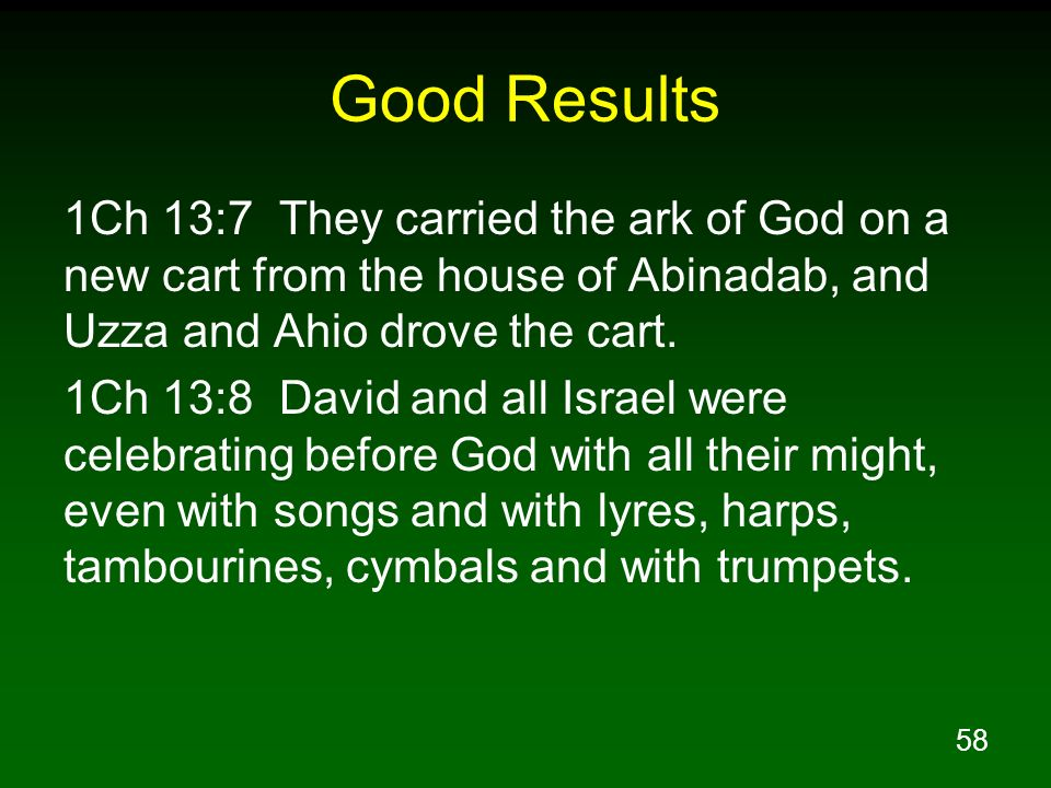 Good Results 1Ch 13:7 They carried the ark of God on a new cart from the house of Abinadab, and Uzza and Ahio drove the cart.