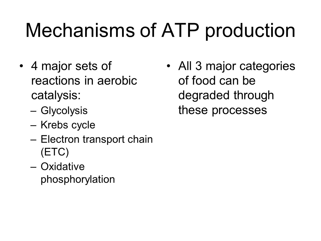 Mechanisms of ATP production
