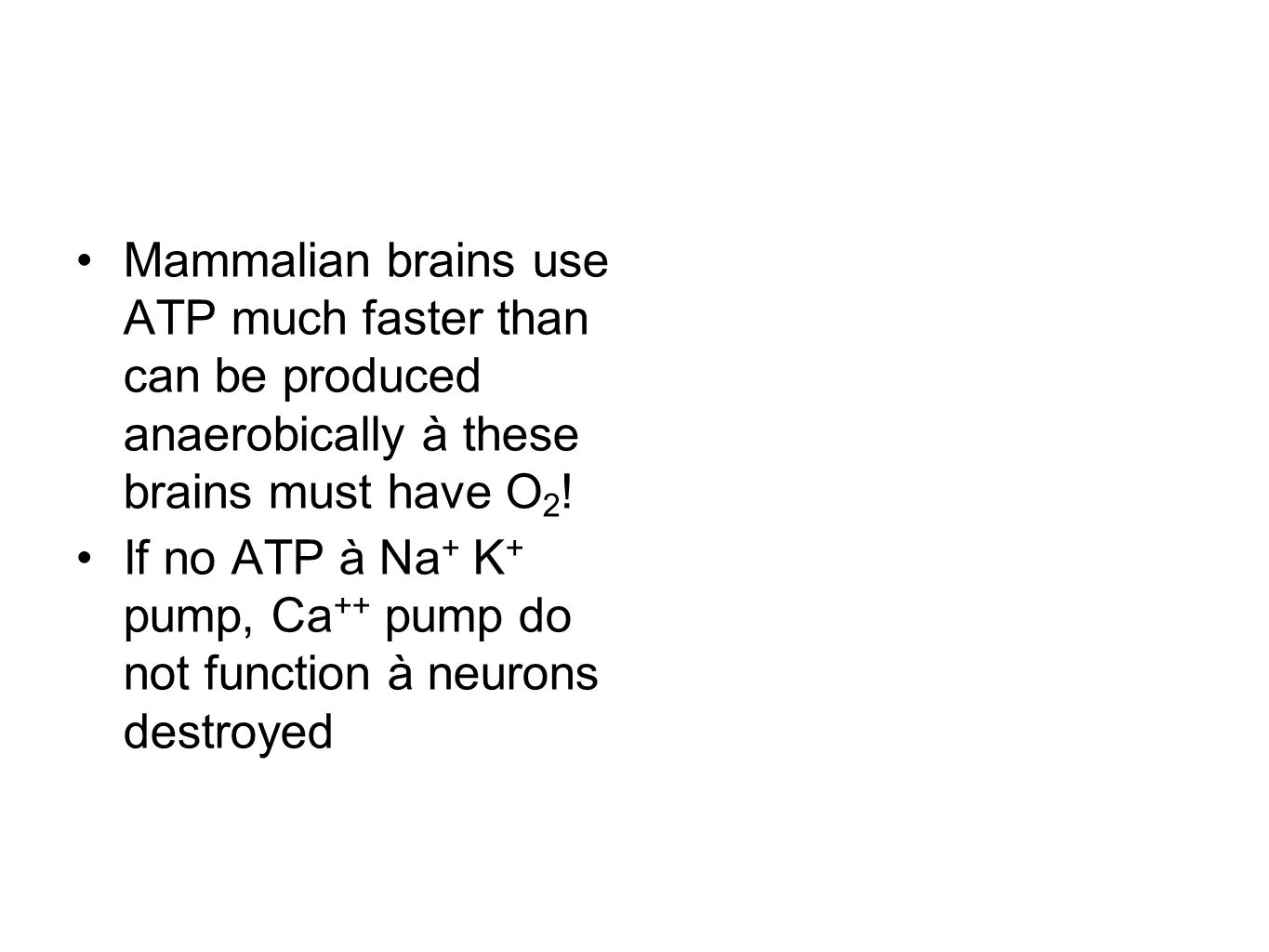 Mammalian brains use ATP much faster than can be produced anaerobically à these brains must have O2!