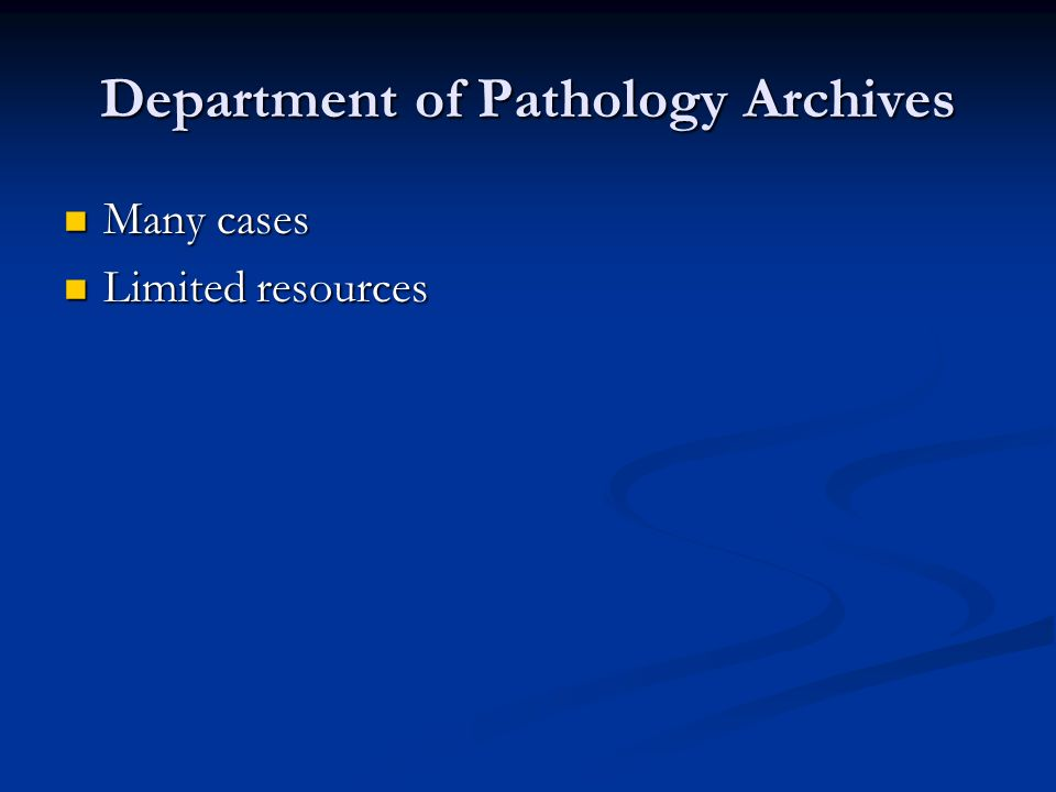 Department of Pathology Archives