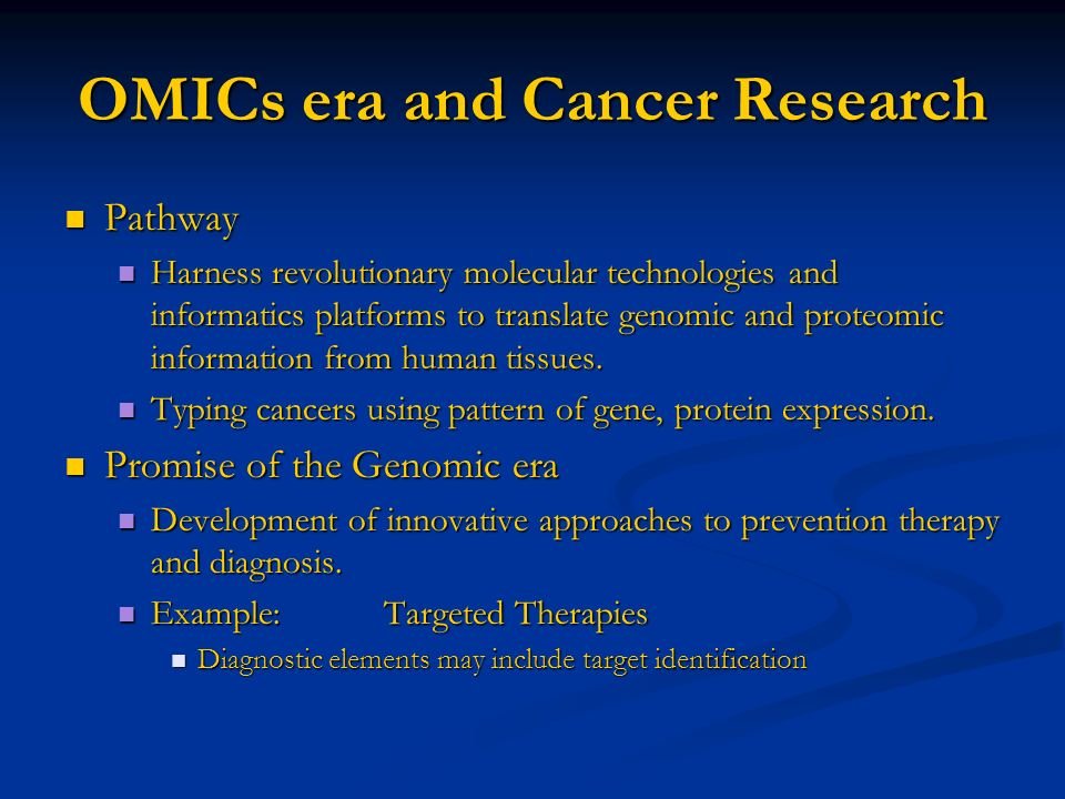 OMICs era and Cancer Research