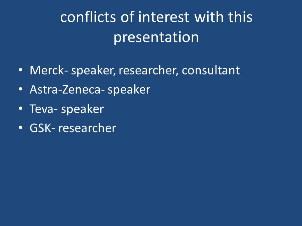 conflicts of interest with this presentation