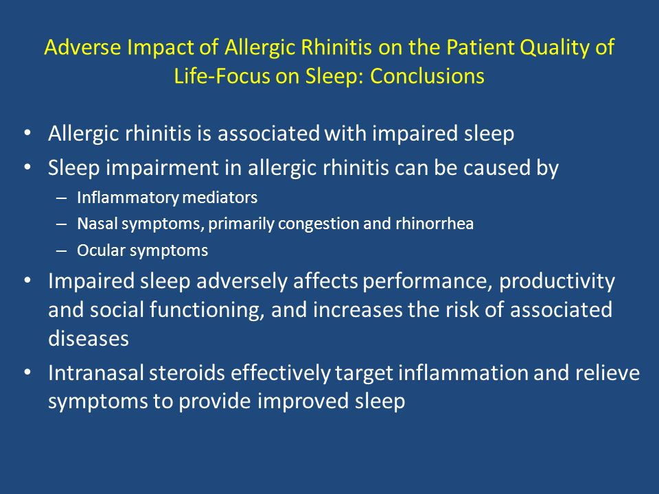 Allergic rhinitis is associated with impaired sleep