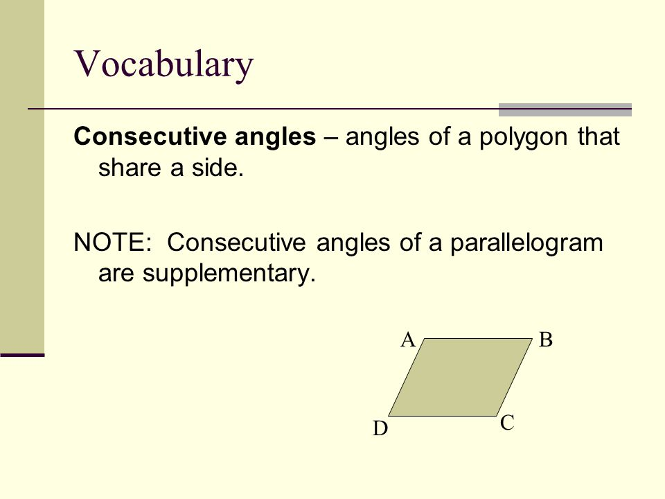 Vocabulary Consecutive angles – angles of a polygon that share a side.
