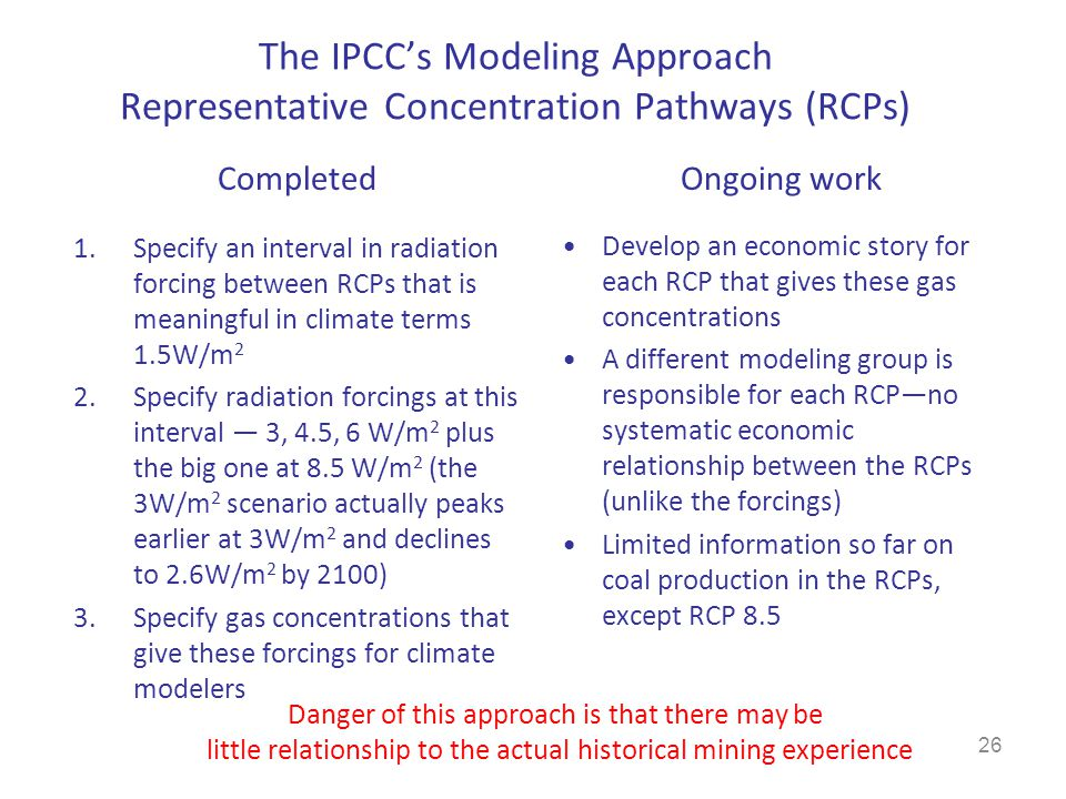 The IPCC's Modeling Approach Representative Concentration Pathways (RCPs)