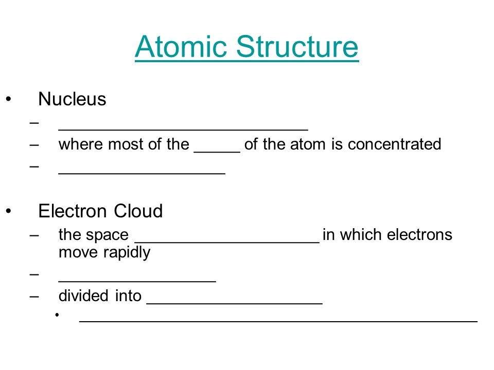 Atomic Structure Nucleus Electron Cloud ___________________________