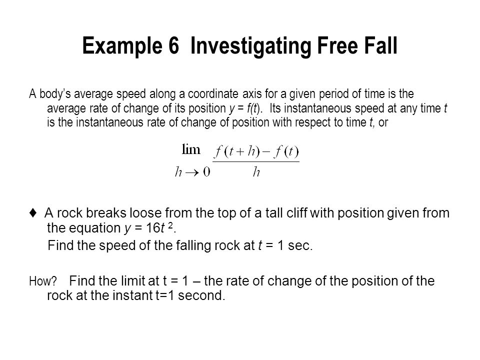 Example 6 Investigating Free Fall
