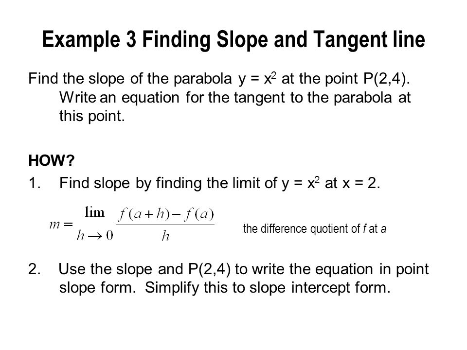 Example 3 Finding Slope and Tangent line