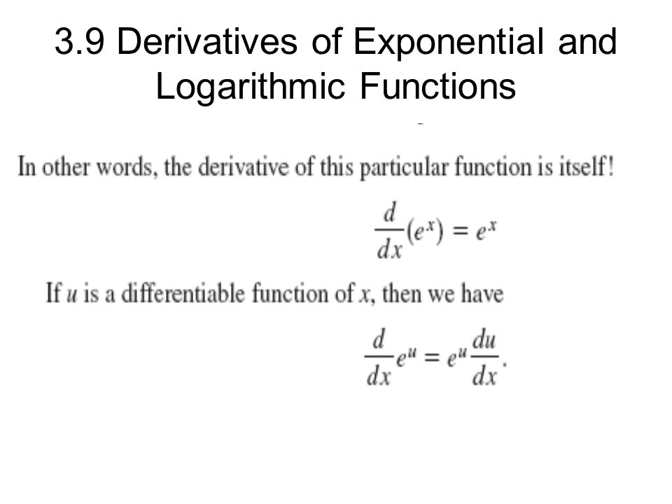 3.9 Derivatives of Exponential and Logarithmic Functions ...
