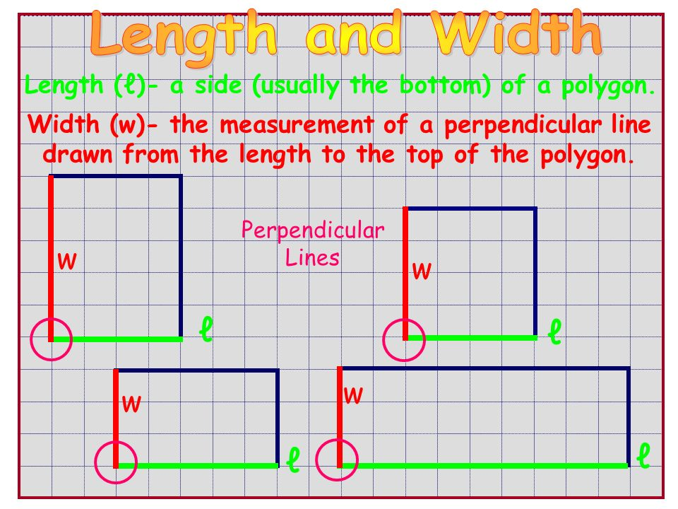 Length (ℓ)- a side (usually the bottom) of a polygon.