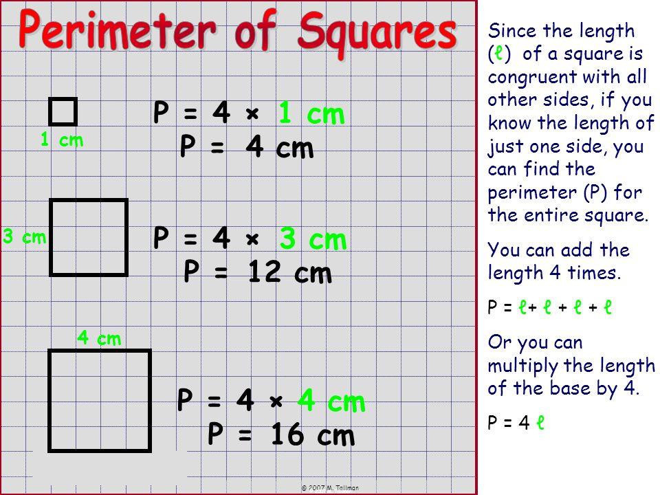 Perimeter of Squares P = 4 × 1 cm P = 4 cm P = 4 × 3 cm P = 12 cm P =