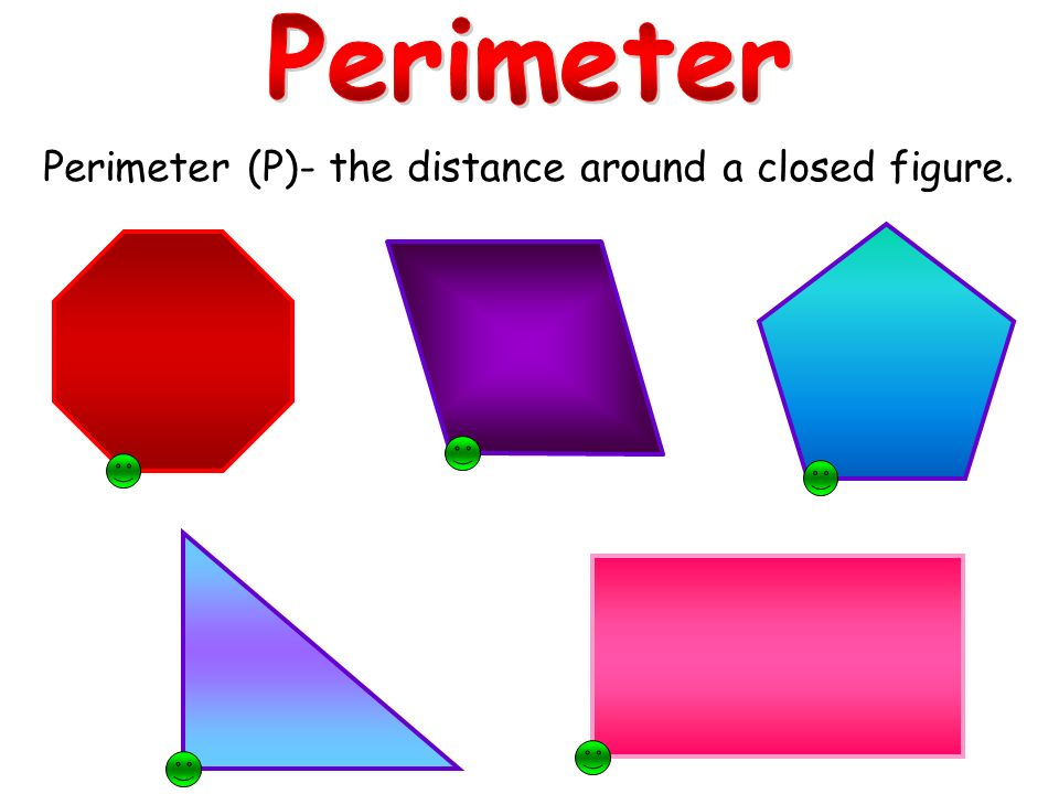 Perimeter (P)- the distance around a closed figure.