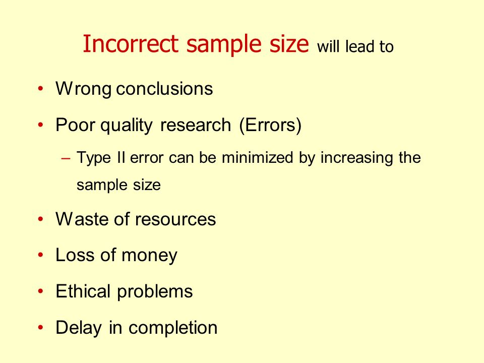 Incorrect sample size will lead to