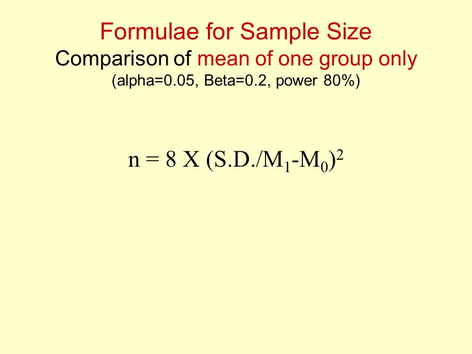 Formulae for Sample Size Comparison of mean of one group only (alpha=0
