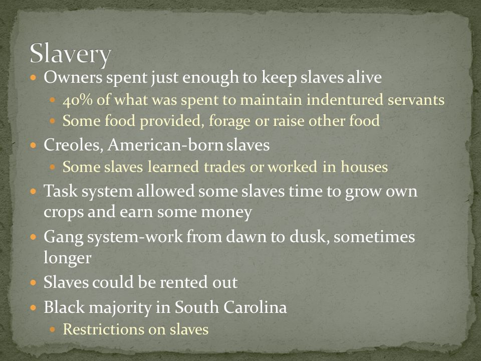 Slavery Owners spent just enough to keep slaves alive