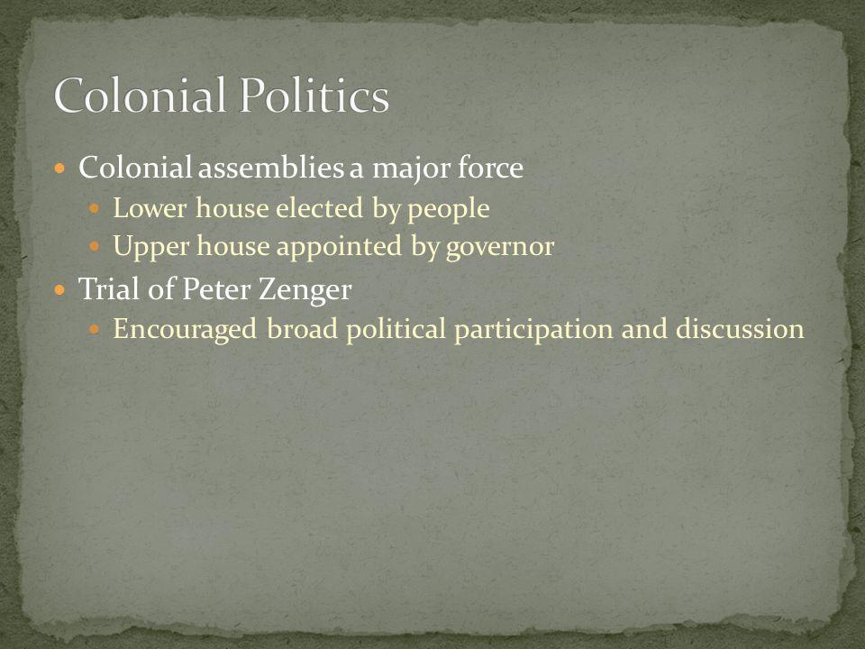 Colonial Politics Colonial assemblies a major force