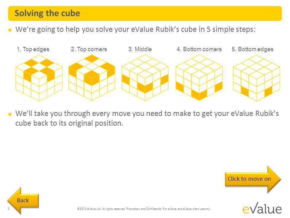 Solving the cube We're going to help you solve your eValue Rubik's cube in 5 simple steps: