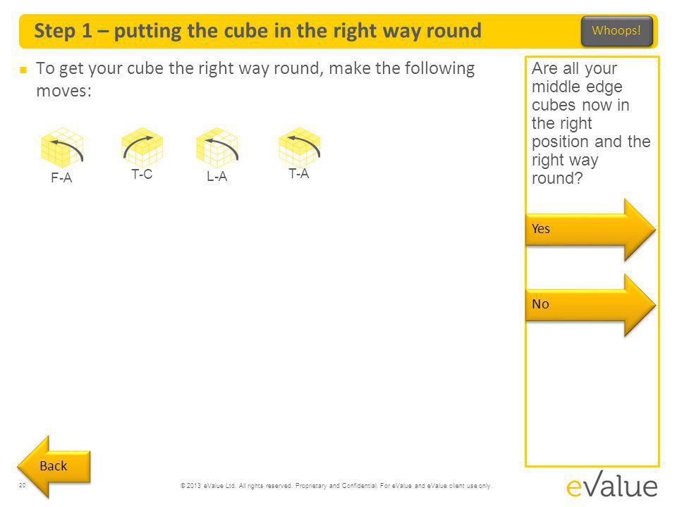 Step 1 – putting the cube in the right way round
