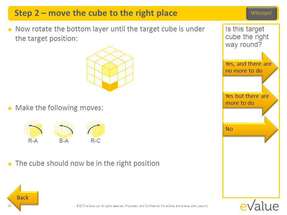 Step 2 – move the cube to the right place