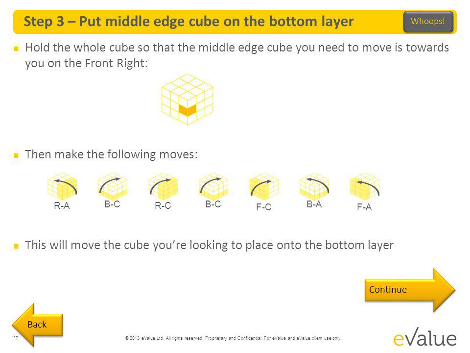 Step 3 – Put middle edge cube on the bottom layer