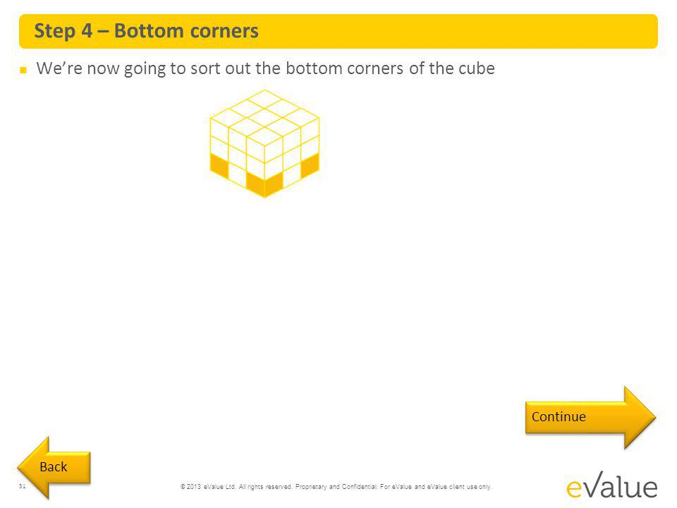 Step 4 – Bottom corners We're now going to sort out the bottom corners of the cube Continue Back