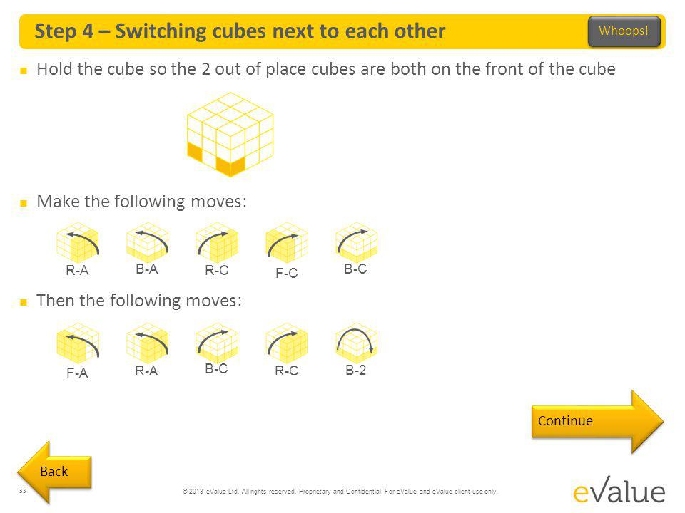 Step 4 – Switching cubes next to each other