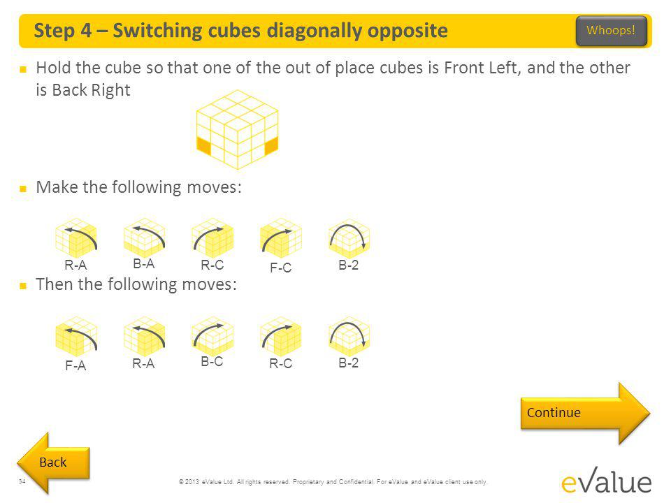 Step 4 – Switching cubes diagonally opposite