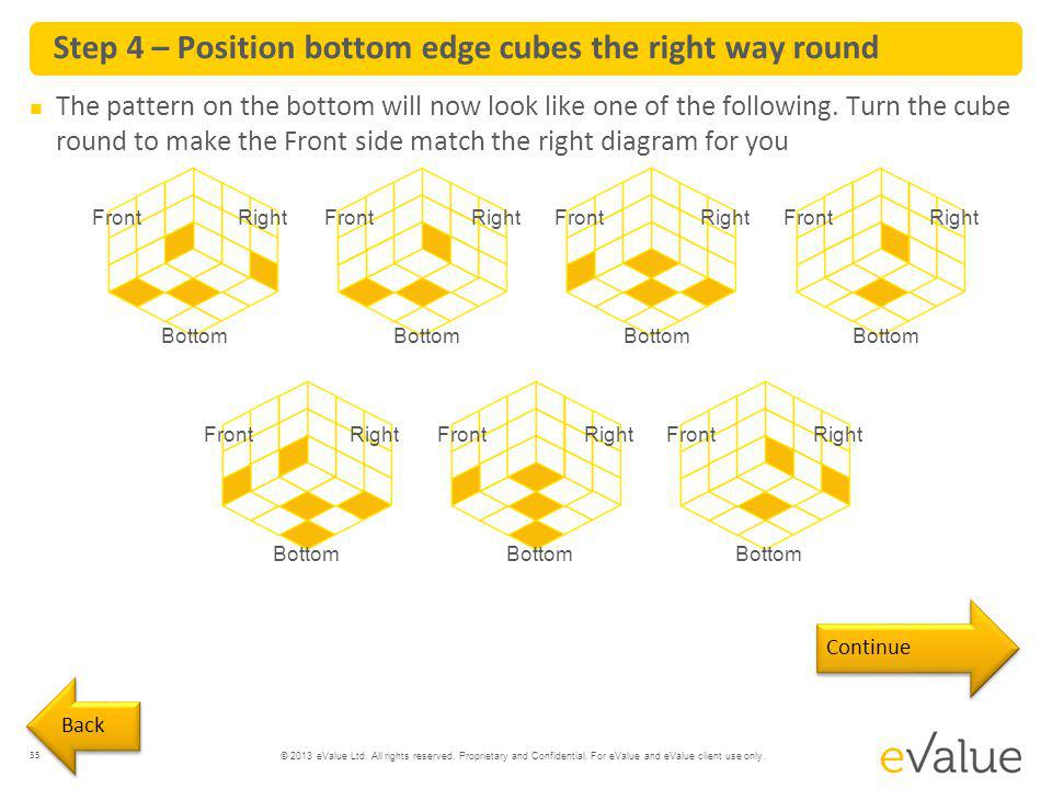 Step 4 – Position bottom edge cubes the right way round
