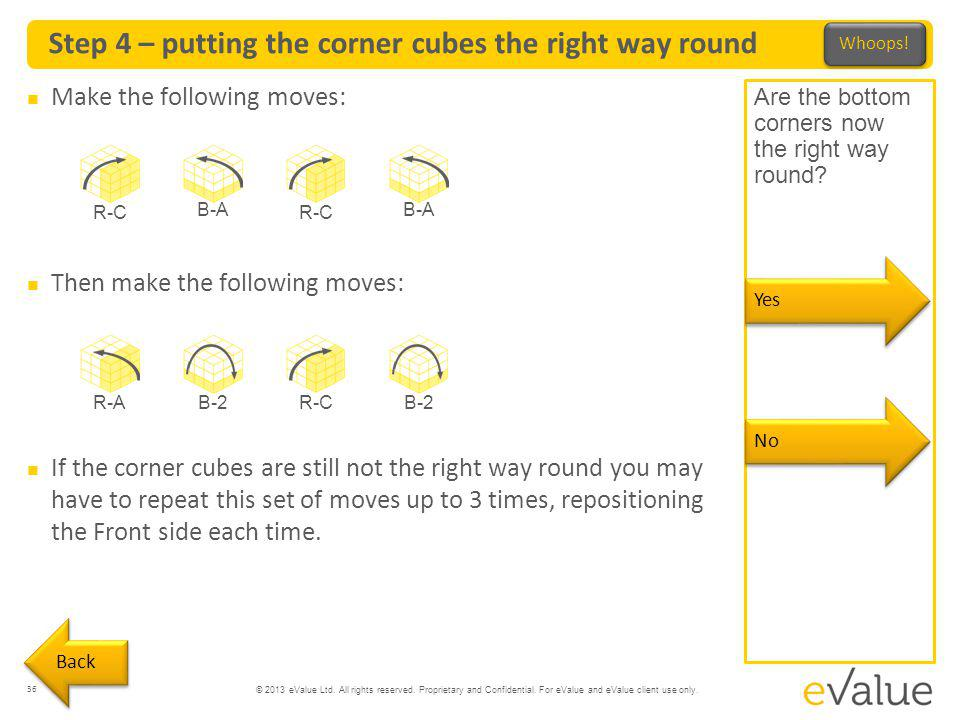 Step 4 – putting the corner cubes the right way round