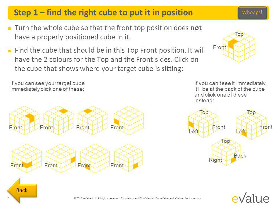 Step 1 – find the right cube to put it in position