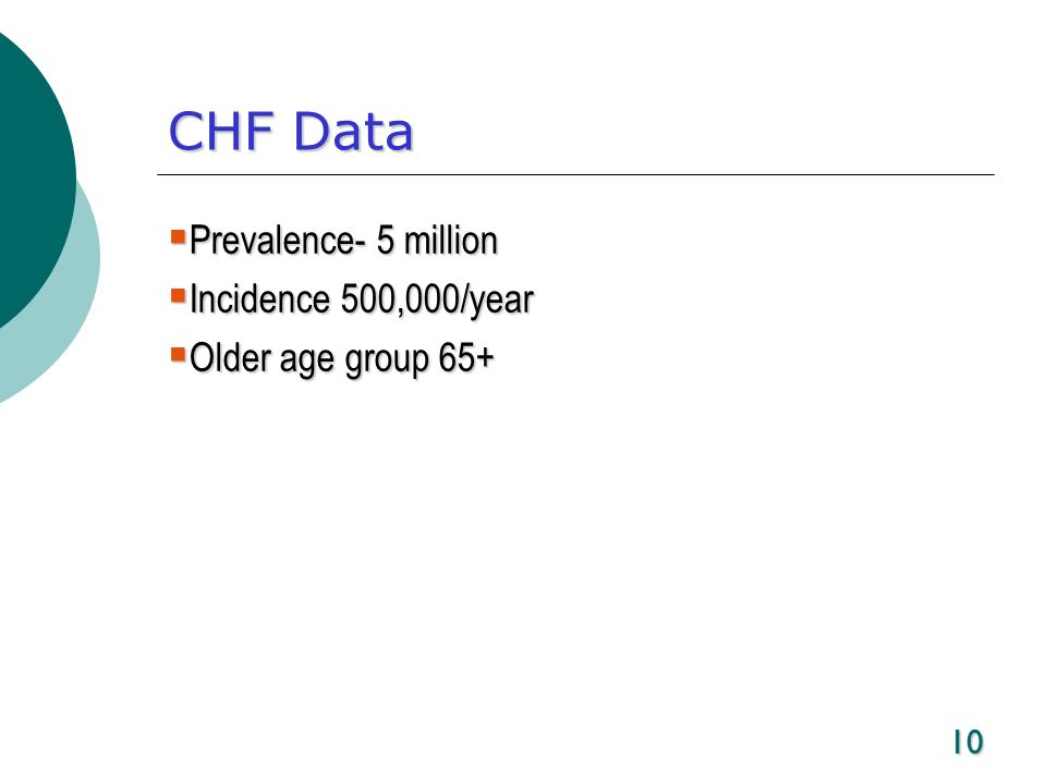 CHF Data Prevalence- 5 million Incidence 500,000/year