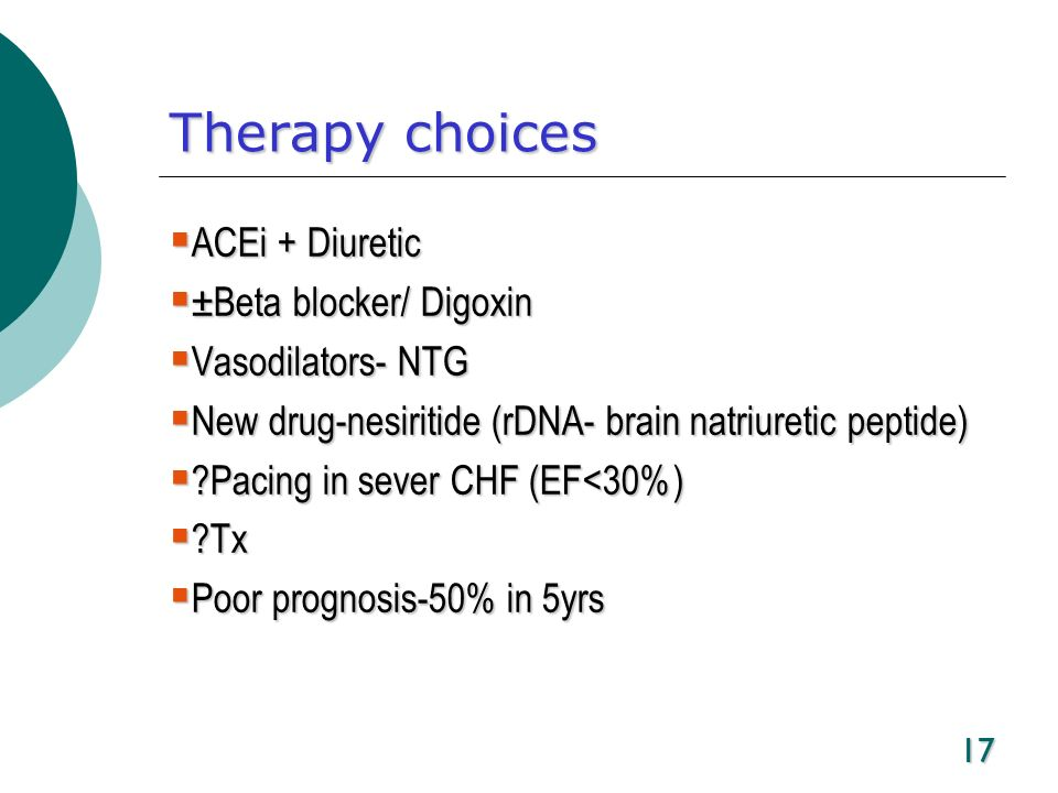 Therapy choices ACEi + Diuretic ±Beta blocker/ Digoxin