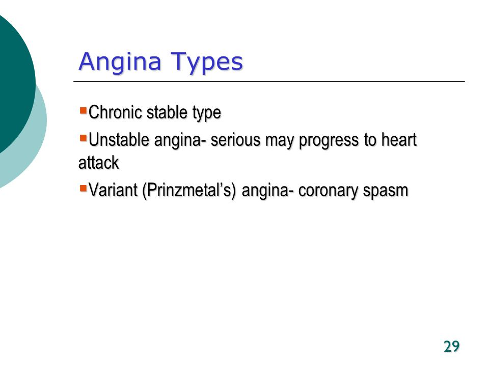 Angina Types Chronic stable type