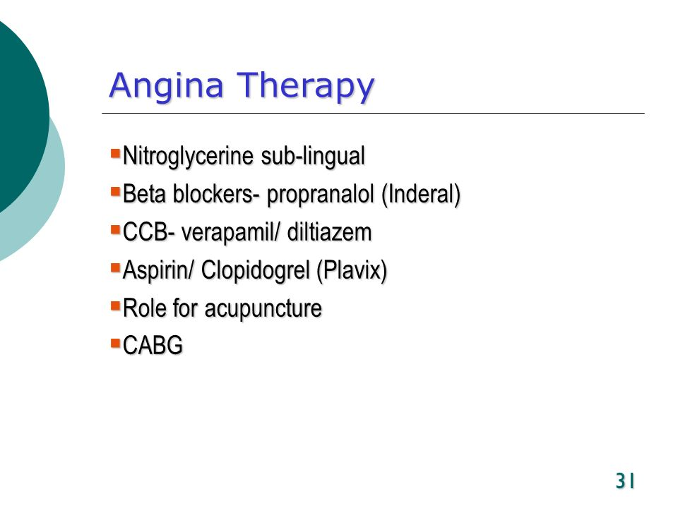 Angina Therapy Nitroglycerine sub-lingual