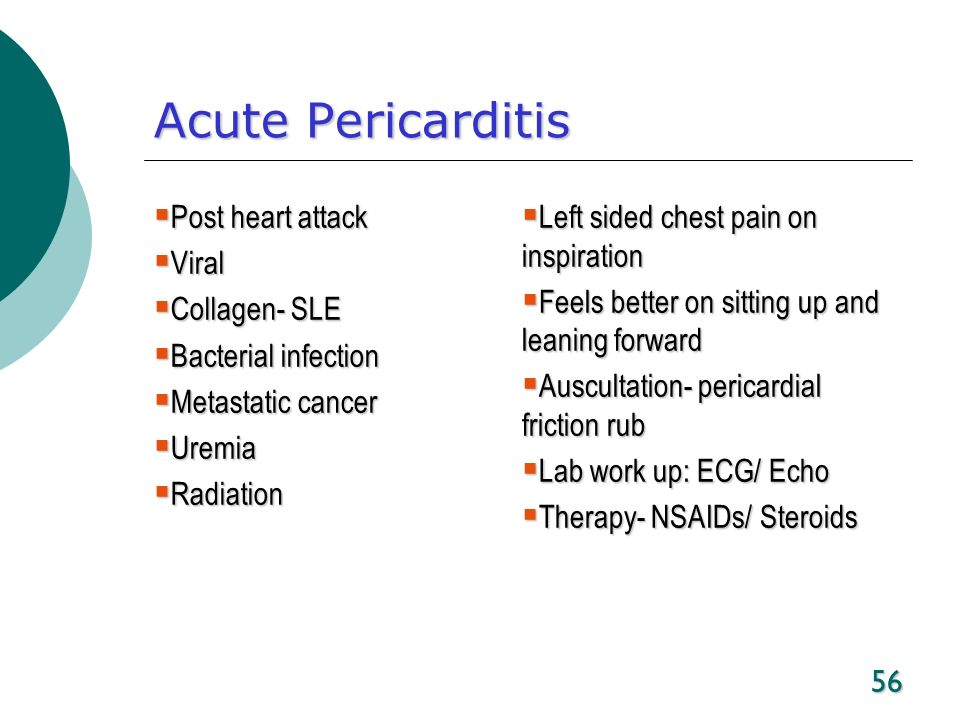 Acute Pericarditis Post heart attack Viral Collagen- SLE