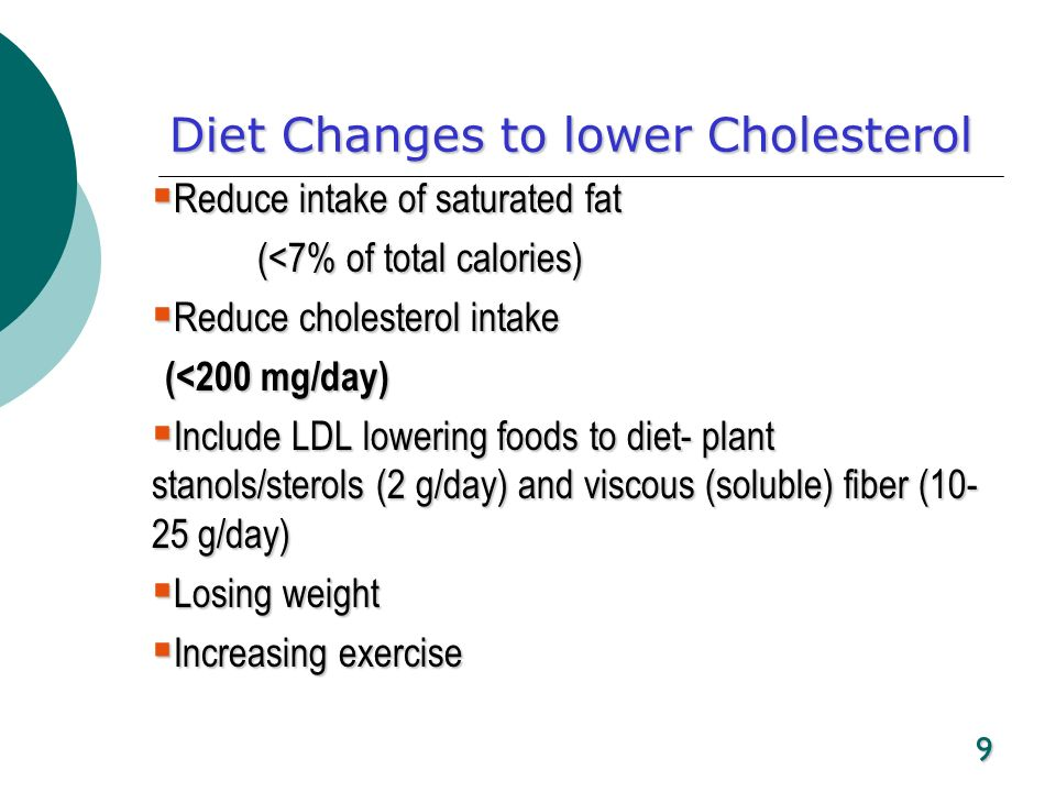 Diet Changes to lower Cholesterol