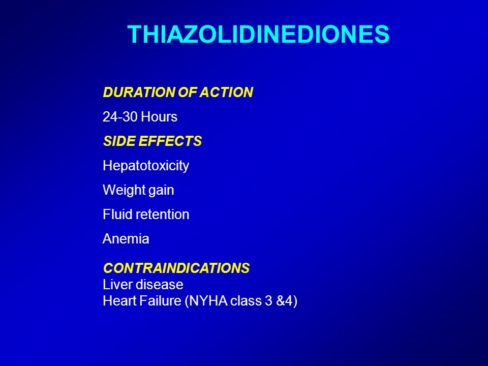 THIAZOLIDINEDIONES DURATION OF ACTION 24-30 Hours SIDE EFFECTS