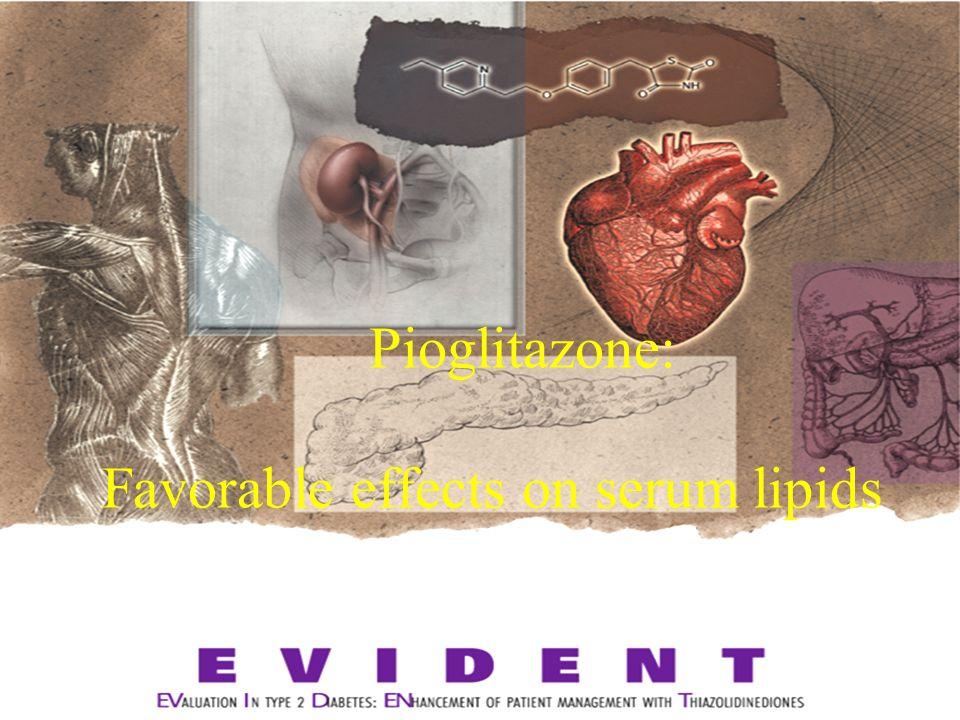 Pioglitazone: Favorable effects on serum lipids