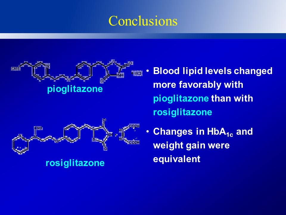 Conclusions Blood lipid levels changed more favorably with pioglitazone than with rosiglitazone. Changes in HbA1c and weight gain were equivalent.