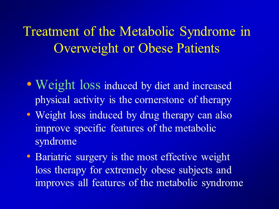 Treatment of the Metabolic Syndrome in Overweight or Obese Patients